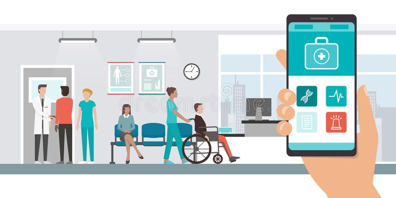 App médico y pacientes en el hospital ilustración del vector