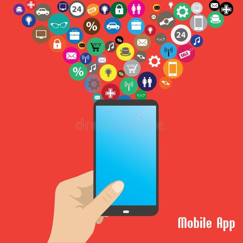 App móvel, ilustração esperta do telefone da mão humana ilustração stock