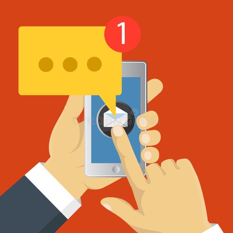 App móvel - mercado do email Projeto liso do vetor ilustração stock