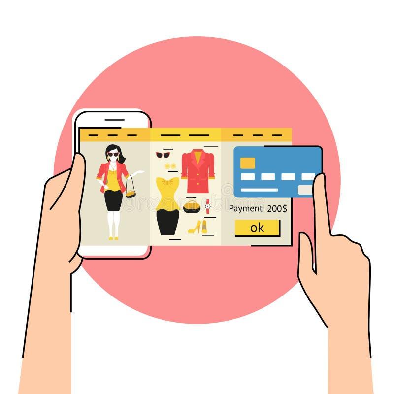 App móvel para a compra da forma ilustração do vetor