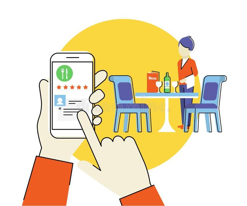 App móvel para o restaurante ilustração royalty free