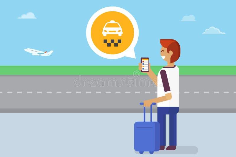App móvel para o táxi ilustração stock