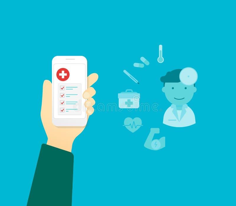 App móvel para a saúde ilustração royalty free