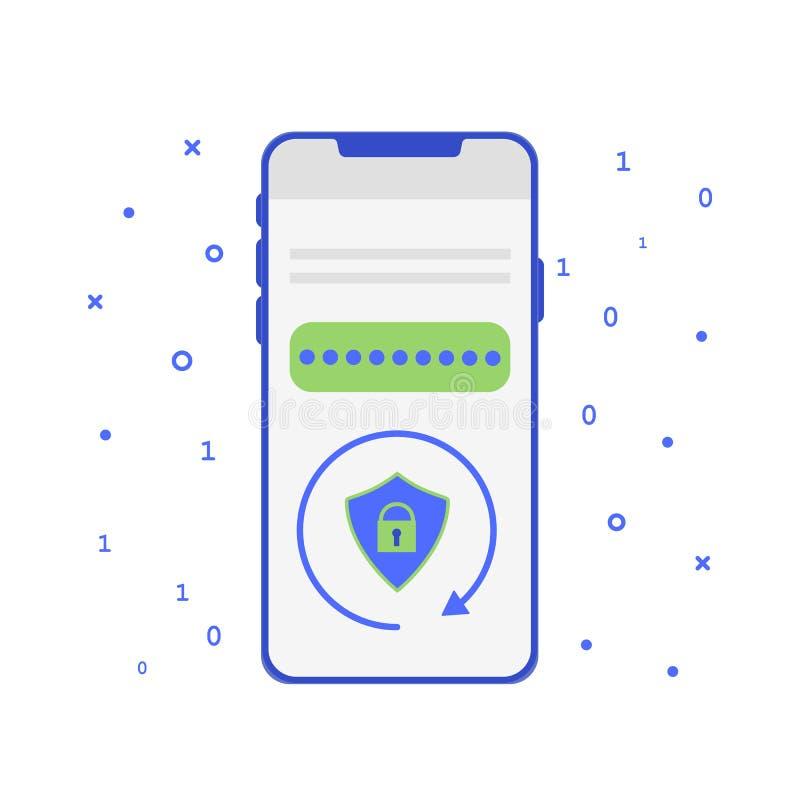 App móvel simbólico do RSA Sistema criptogr?fico para a seguran?a Software da autenticação de dois fatores ilustração royalty free