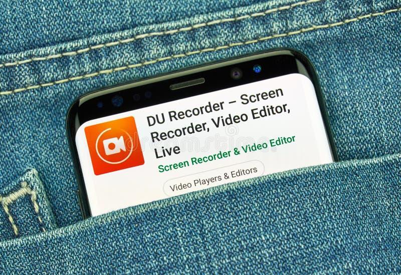 App móvil de DU recorder en Samsung s8 imagen de archivo libre de regalías
