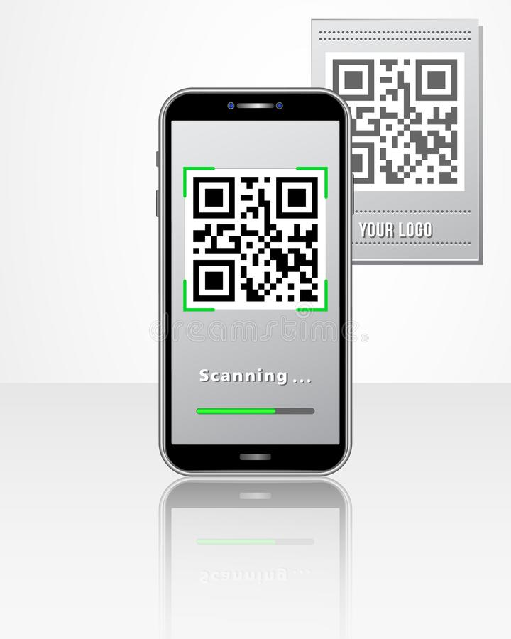 App móvil del escáner de código de QR en la pantalla del smartphone aislada en la tabla brillante blanca Concepto de diseño para  ilustración del vector