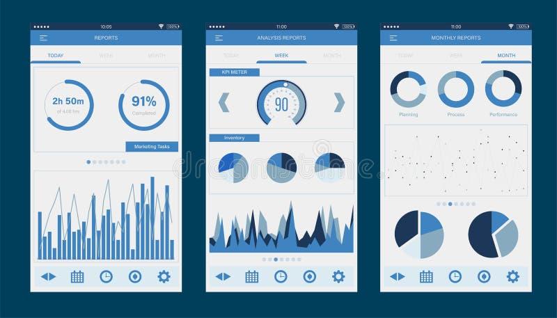 App móvil del tablero de instrumentos UI del Admin Plantilla infographic del app móvil con los gráficos diarios, semanales y mens stock de ilustración