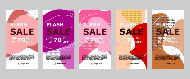 App móvil e instagram de la bandera de destello de la venta stock de ilustración