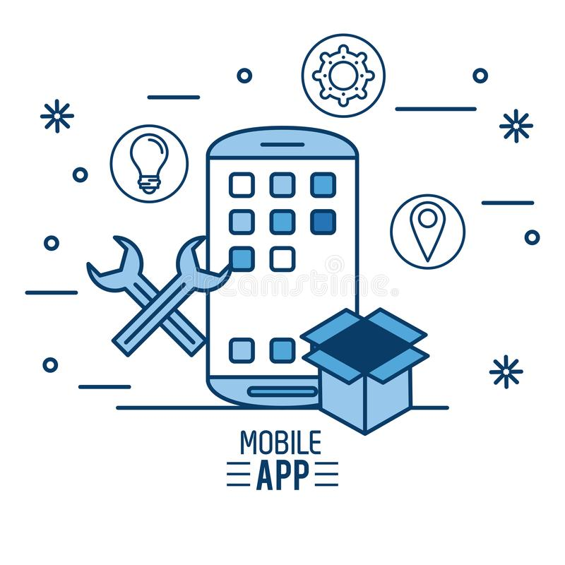 App móvil infographic stock de ilustración