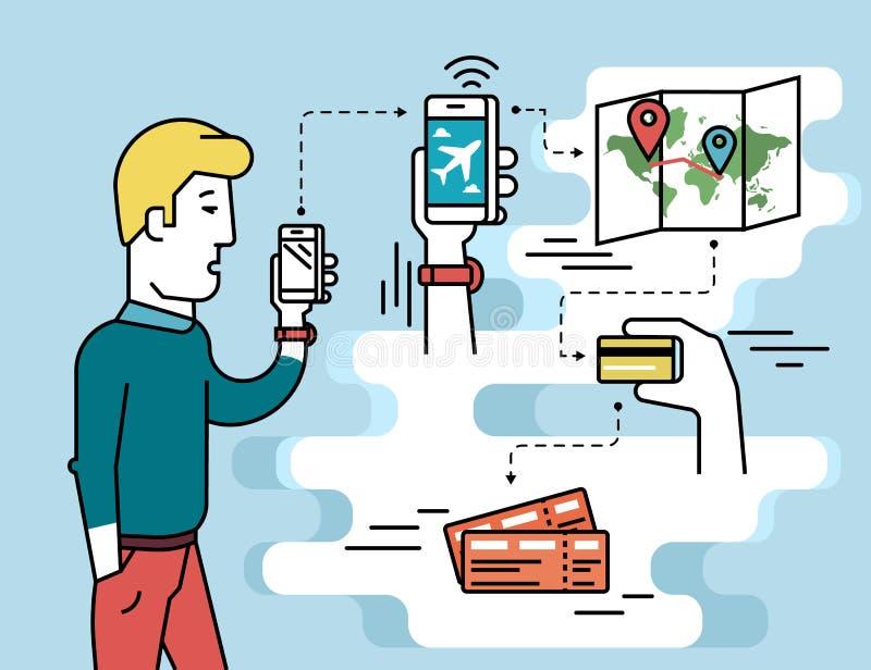App móvil para el paso de aire de reservación stock de ilustración