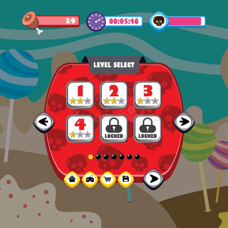 app m?vel da aplica??o do menu do ui do jogo ilustração royalty free