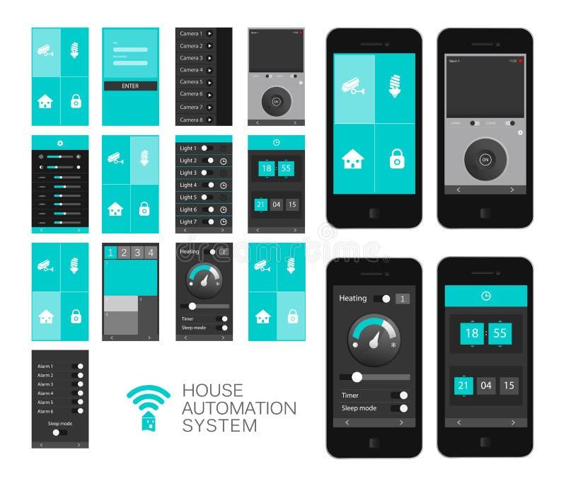 App-manöverenhet för hem- automation stock illustrationer