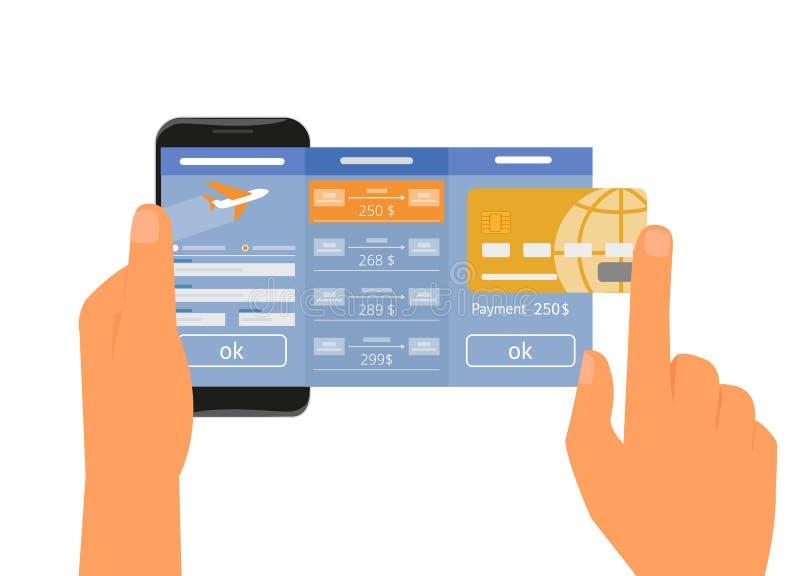 APP mobile pour le passage d'air de réservation illustration stock