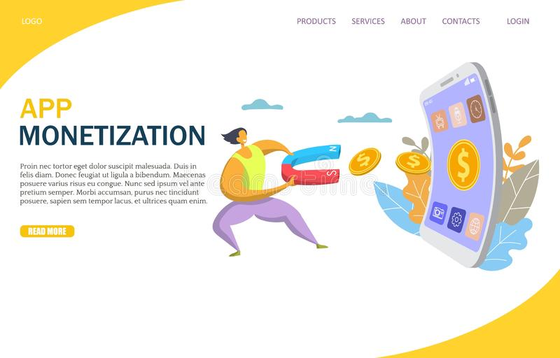 App monetization vector website landing page design template. App monetization vector website template, web page and landing page design for website and mobile stock illustration