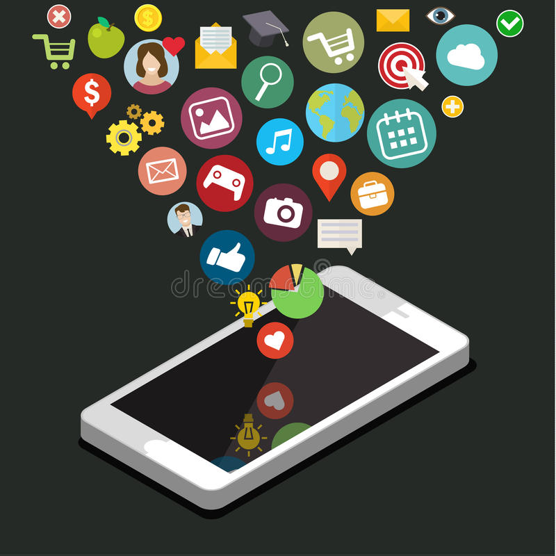 App Ontwikkelingsconcept royalty-vrije illustratie