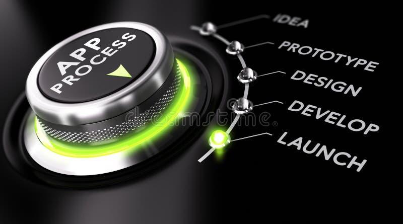 App Ontwikkelingsproces stock illustratie