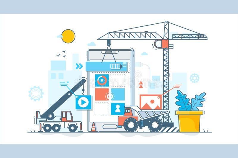 App Ontwikkelingsproces Bouw van Webontwerp Vectorillustratie in vlakke lineaire stijl vector illustratie