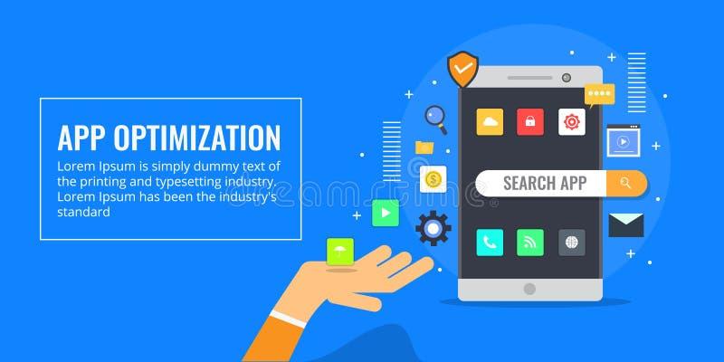 App optimalisering - app opslagoptimalisering - mededeling, sociaal voorzien van een netwerkconcept Vlakke ontwerp vectorbanner vector illustratie