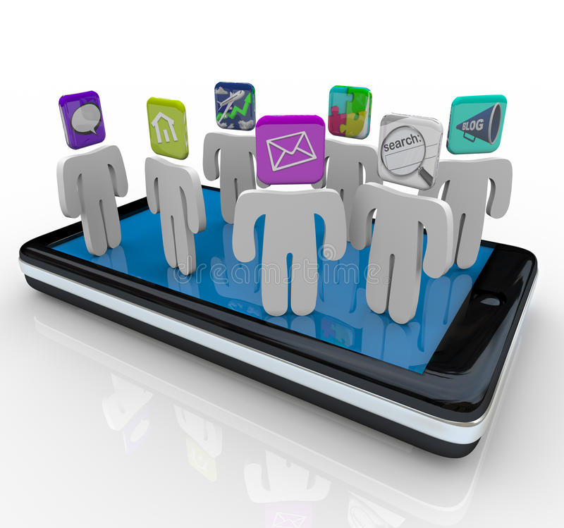 App People Standing on Smart Phone royalty free illustration