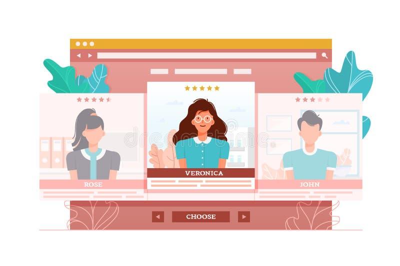 App per la valutazione e gente di valutazione, sguardi e datazione illustrazione vettoriale