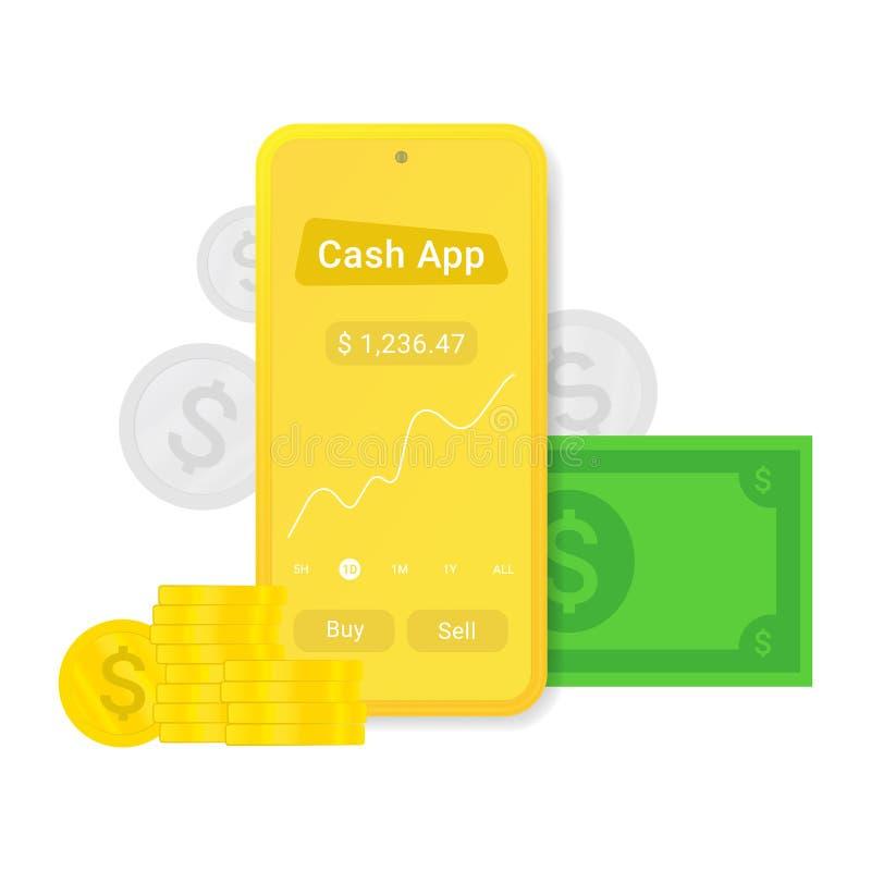 App piano o pubblicità dei contanti Segno mobile di paga illustrazione vettoriale