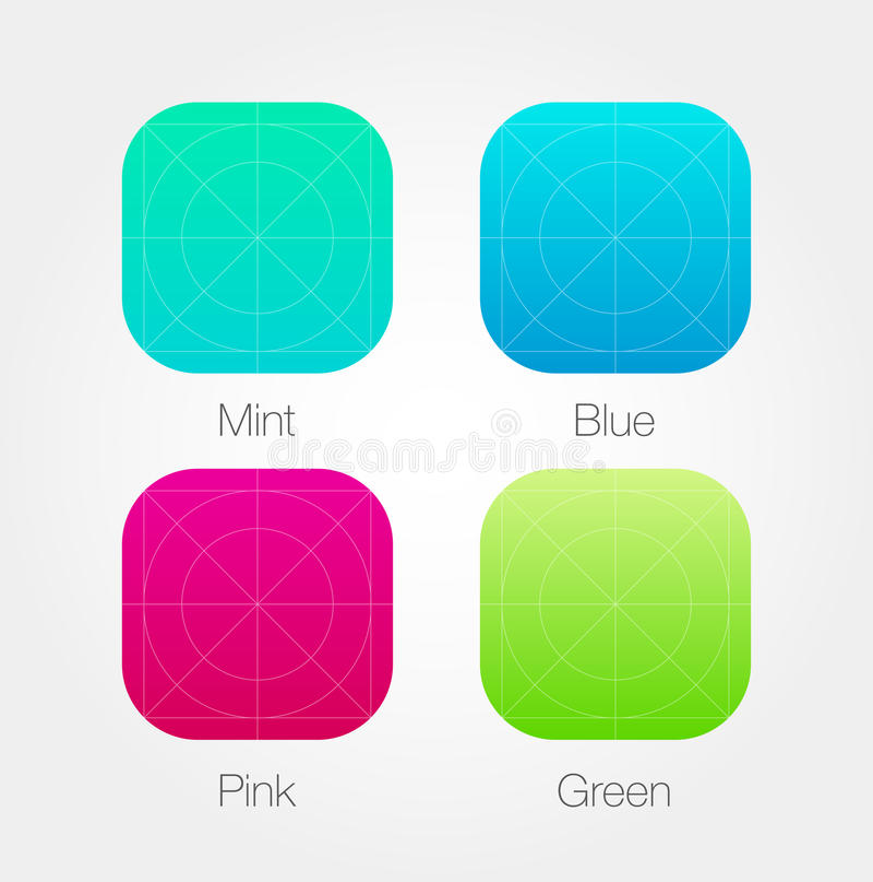App Pictogrammalplaatje met Richtlijnen wordt geplaatst die Vector Verse Kleur stock illustratie
