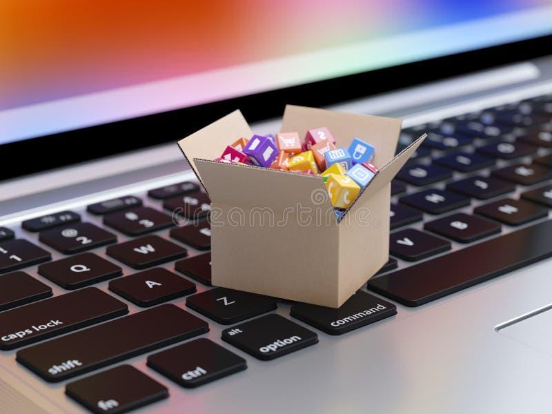 App pictogrammen en knopen in kartondoos op het laptop toetsenbord royalty-vrije illustratie