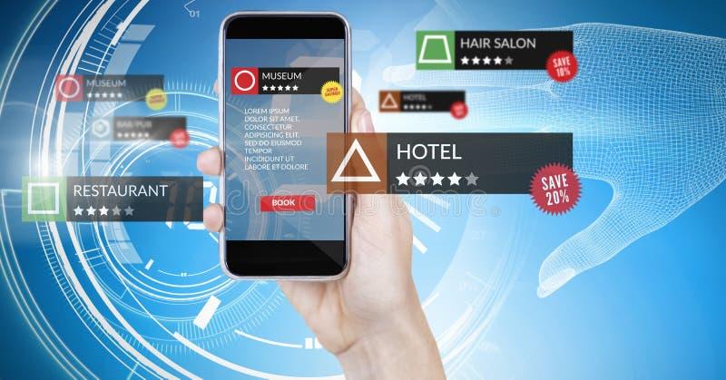 App przegląda lokacje w zwiększającej rzeczywistości z technologii tłem fotografia royalty free