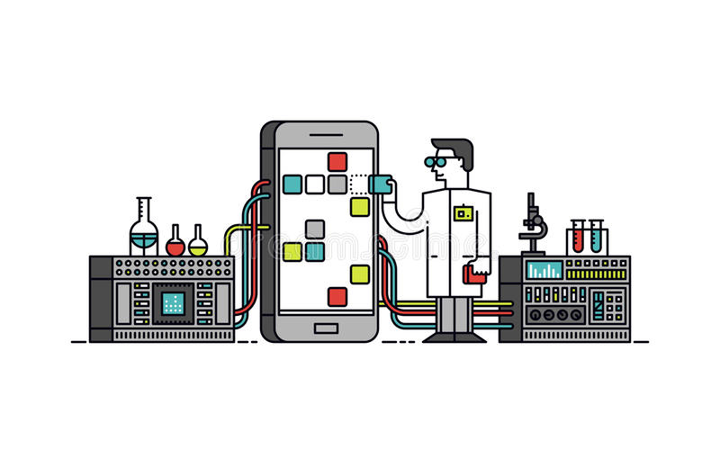 App research process line style illustration stock illustration