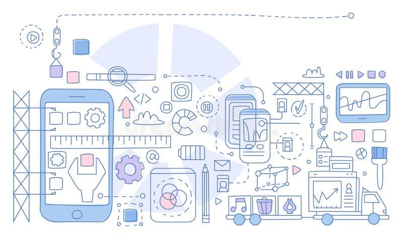 App rozwój Infographics również zwrócić corel ilustracji wektora ilustracja wektor