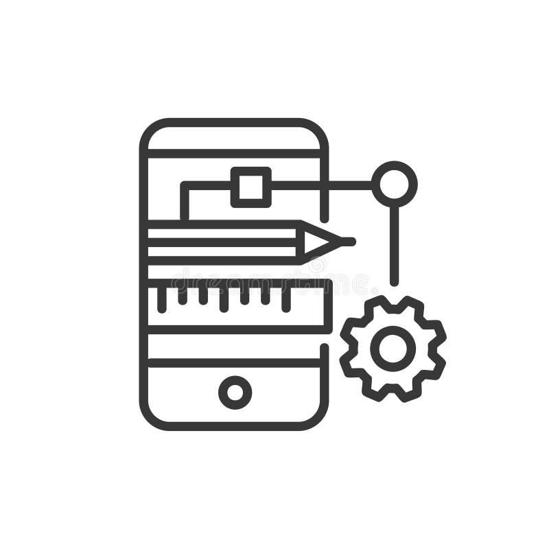 App Rozwijać - nowożytna wektor linii projekta ikona ilustracja wektor