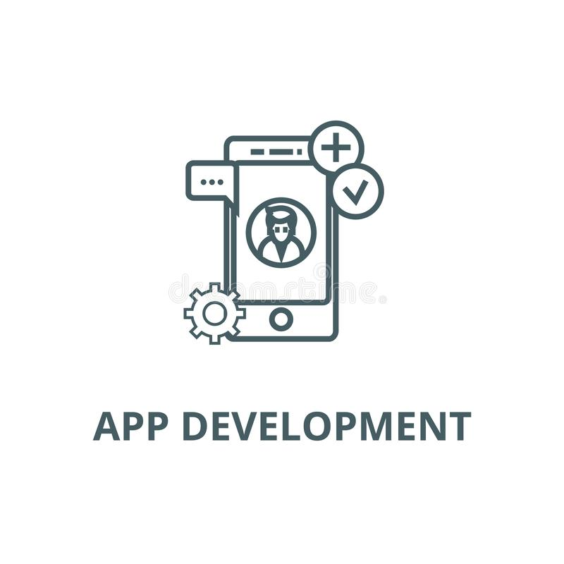 App rozwoju linii ikona, wektor App rozwoju konturu znak, pojęcie symbol, płaska ilustracja ilustracji
