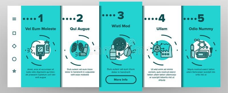 App-Seiten-Schirm Asthma-Krankheits-Vektor Onboarding mobiler stock abbildung
