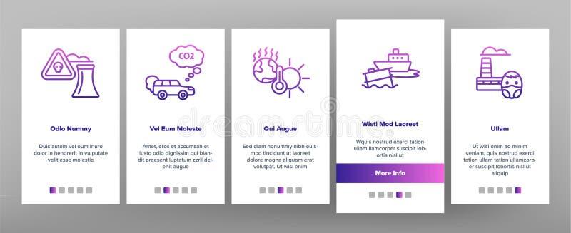 App-Seiten-Schirm Klimaluftverschmutzungs-Vektor Onboarding mobiler vektor abbildung