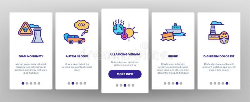 App-Seiten-Schirm Klimaluftverschmutzungs-Vektor Onboarding mobiler stock abbildung