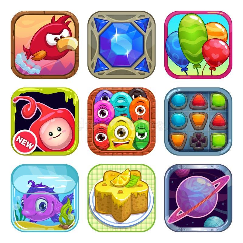 App sklepu gry ikony ilustracja wektor