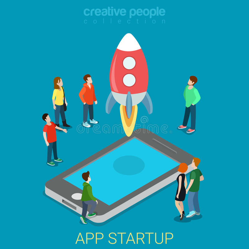 App startup mobile launching process flat 3d isometric vector vector illustration