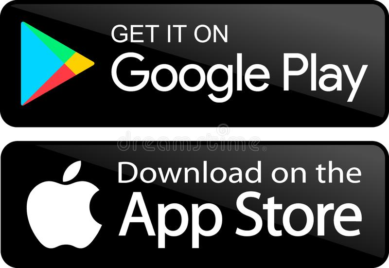 Google play store app icons. Vector illustration - google play store and apple app store icons buttons - isolated on white background royalty free illustration