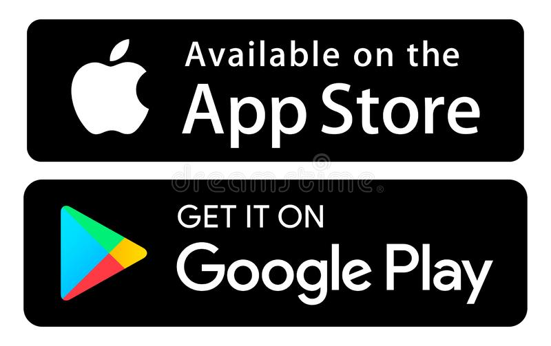 App Store Google play icons color. Icons App Store Google play colors vector illustration vector illustration