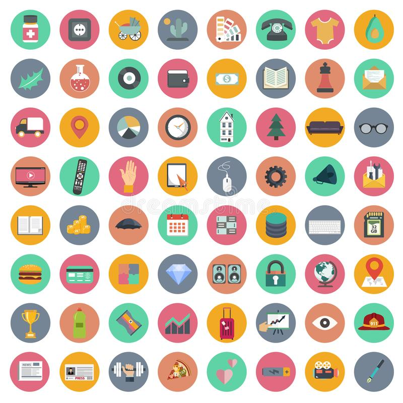 App-symbolsuppsättning Symboler för websites och mobilapplikationer plant royaltyfri illustrationer