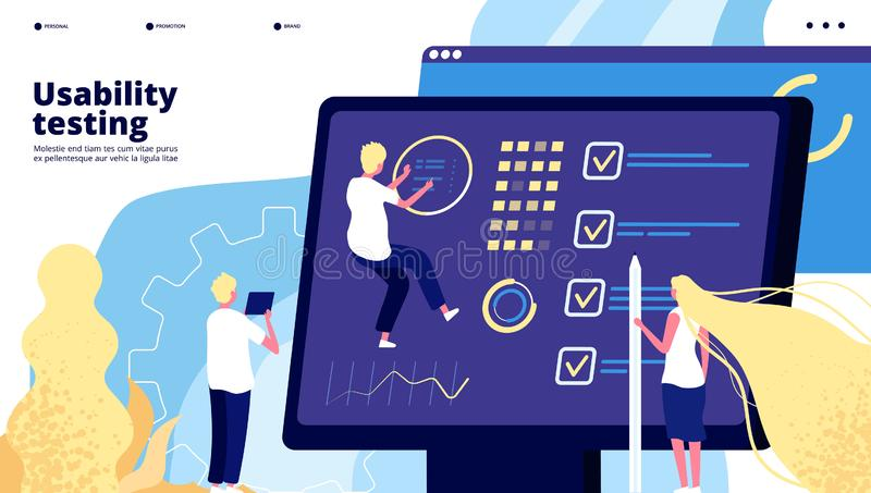 App testing landing. People develop and test smartphone ui dashboard, web mobile interface designing and data testing vector illustration