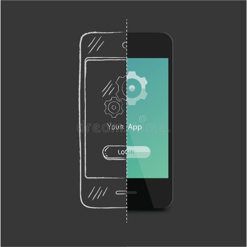 App-utveckling stock illustrationer