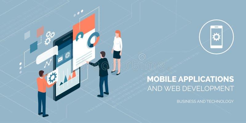 App-utveckling och affär vektor illustrationer