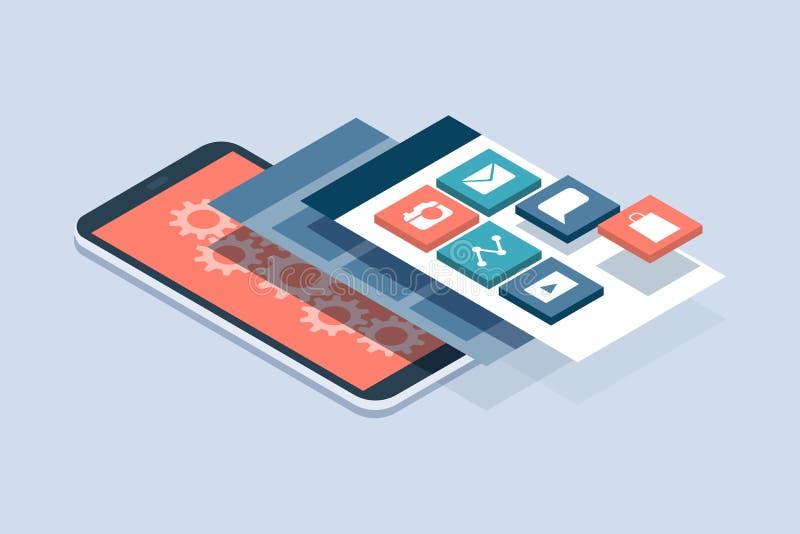 App-utveckling och användargränssnitt vektor illustrationer