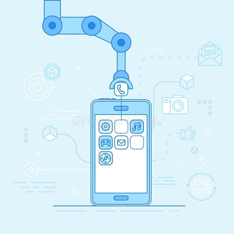 App-utvecklingsbegrepp - robotic hand som sätter applikation royaltyfri illustrationer