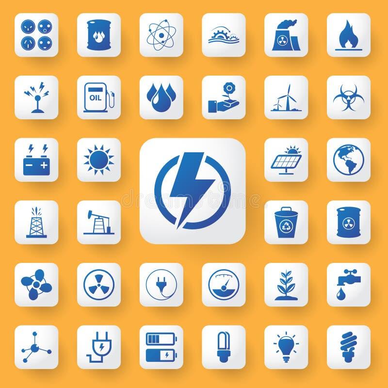 App van de pictogramenergie en industrie geplaatste tekenpictogrammen Vector illustratie royalty-vrije illustratie