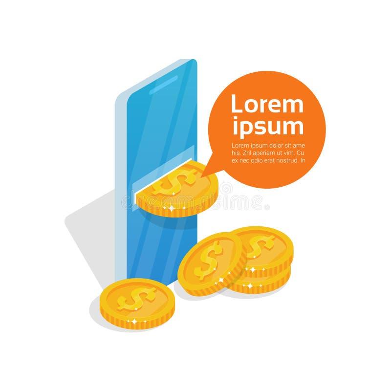 App van de Web Mobiele Portefeuille Muntstukken die van Scherm vallen van de Cel het Slimme Telefoon Online Bankwezentechnologie vector illustratie