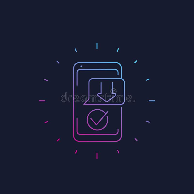 App van downloadsmartphone lineair pictogram royalty-vrije illustratie