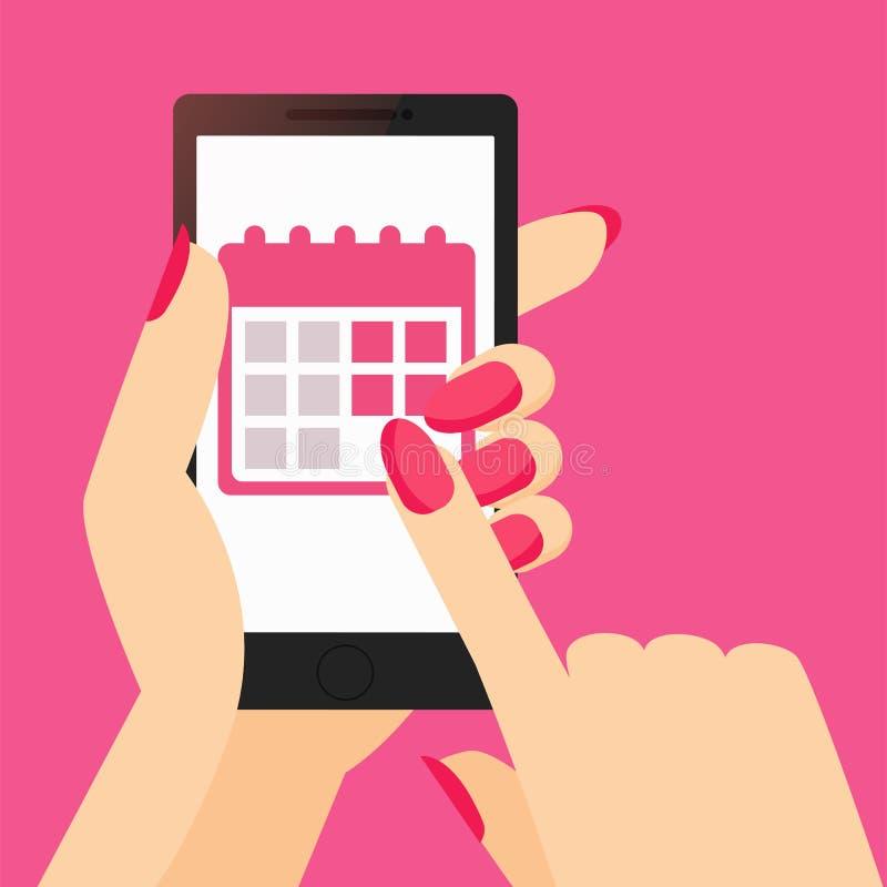 App van een het spoorkalender van de vrouwen` s periode op de telefoon in haar hand vector illustratie
