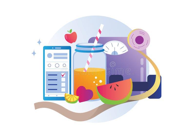 App van het dieetding de vector van de conceptenillustratie royalty-vrije illustratie